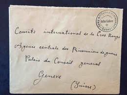 Interlaken Bern, Camp Militaire D'Internement, Lettre Interné Nationalité Indéterminée, Croix-rouge Genève - Marcophilie