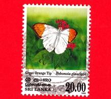 SRI LANKA - Usato - 1999 - Farfalle - Butterflies - Great Orange Tip (Hebomoia Glaucippe) - 20.00 - Sri Lanka (Ceylon) (1948-...)