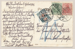 Schweiz - 1921 - 15c Portomarke On Postkarte From Pfullendorf /Deutschland To Aarau - Strafportzegels
