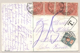 Schweiz - 1922 - 25c Portomarke On Postkarte From Deutschland To Aarau - Strafportzegels