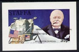 Staffa 1972 Pictorial Imperf Souvenir Sheet (35p Value) Churchill & Luna Module (opt'd IBRA Munich 1973)  SPACE STAMP EX - Local Issues