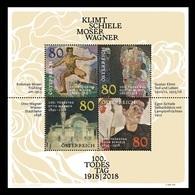 Austria 2018 Mih. 3423/26 (Bl.101) Paintings. Viennese Modernism. Klimt. Schiele. Moser. Wagner MNH ** - 1945-.... 2nd Republic