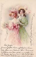 AK 2 Frauen In Kleidern Mit Hüten Und Blumen - Künstlerkarte - 1900 (36633) - Frauen