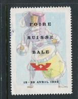 "1952 Foire Suisse Bale Reklamemarke Poster Stamp Vignette  Hinged 1 3/4 X 2 3/8"" - Cinderellas"