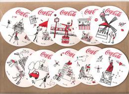 10 SOUS BOCKS    COCA COLA   SÉRIE LES QUARTIERS DE PARIS EN BOUTEILLE  RECTO ET VERSO /  ILLUSTRATIONS DE KANAKO - Sous-bocks