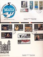 Malta Council Of Europe Art 1970 Independence 1969 With Day Of Issue Cancels 1969 1970  A04s - Collections (without Album)