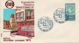 1973, SOBRE CON MATASELLOS ESPECIAL , LA CORUÑA - EXPOSICIÓN FILATÉLICA DEL BANCO DE BILBAO , NOYA - 1971-80 Storia Postale