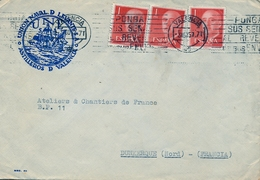 1957 , VALENCIA - DUNKERQUE , SOBRE DE LA UNIÓN NAVAL DE LEVANTE - ASTILLEROS DE VALENCIA - 1931-Today: 2nd Rep - ... Juan Carlos I