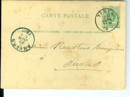 Carte Postale AS CàD Ypres & Anvers 1881  P. Willems à Keusters à Anvers Entier Postal Postwaardestuk - Enteros Postales
