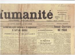 L 'HUMANITE  ( 2 Pages) La Triste Histoire D'Adolphe DEGEYTER , Auteur De L'INTERNATIONALE ; 15  Aout 1919 - 2 Scans - Journaux - Quotidiens