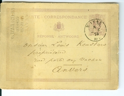 Carte Correspondance AS CàD Wavre  1873  De G. Wargnies Avocat à Wavre Entier Postal Postwaardestuk - Ganzsachen