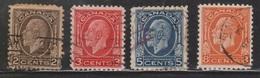 CANADA Scott # 196-7, 199-200 Used - KGV Medallion Issue - 1911-1935 Règne De George V