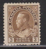 CANADA Scott # 108 MNG - KGV Admiral Issue - NO GUM - 1911-1935 Règne De George V