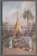 V5719 Myanmar BIRMANIA RANGOON SULAY PAGODA ILLUSTRAZIONE E. PINHEY OILETTE FP (m) - Myanmar (Burma)