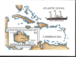 J) 1985 ANTIGUA AND BARBUDA, MAP, BOAT, ATLANTIC OCEAN, CARIBBEAN SEA, SOUVENIR SHEET, MNH - Antigua And Barbuda (1981-...)