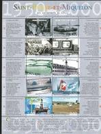 J) 2000 SAINT PIERRE AND MIQUELON, BOAT, AIRPLANE, RAILWAY, SEA, TOWER, ICEBERG, SOUVENIR SHEET, MNH - Europe (Other)