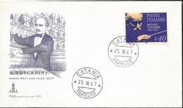 J) 1967 ITALY, ARTURO TOSCANINI, MUSIC, FDC - Italy
