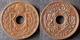 INDOCHINE  1/2 Cent 1937   INDO CHINA  FRANCE  PORT OFFERT - Colonias