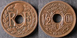 INDOCHINE  1/2 Cent 1937   INDO CHINA  FRANCE  PORT OFFERT - Cambodia
