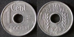 INDOCHINE FRANCAISE  1 Cent 1943  INDO CHINA  INDOCINA  PORT OFFERT - Cambodge