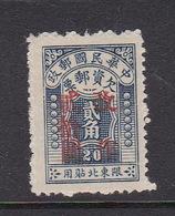 China North-Eastern Provinces  Scott J8 1948 Postage Due,$ 20 On 20c Dark Blue,Mint - Chine Du Nord-Est 1946-48