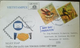 O) 2008 VIETNAM, BIRDS- GARRULAX - IGNOTINCTA, VIETSTAMPEX, AIRMAIL TO CARIBE, XF - Viêt-Nam