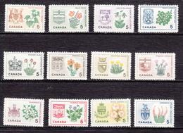 Canada, 1964, ##418-429, MNH, Armoiries, Coat Of Arms, Fleur, Flower, Série Complète, Complete Set - Végétaux