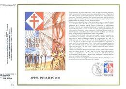 """"""" DE GAULLE / APPEL DU 18 JUIN 1940 """" Sur Feuillet CEF 1er Jour De 1990. N° YT 2759. Parfait état. - De Gaulle (General)"""