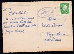 """DEUTSCHE SCHIFFSPOST DES """"Wappen Von Hamburg"""" HADAG A HAMBURG-HELGOLAND 03.6.59 - Allemagne"""