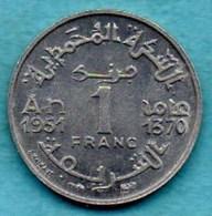 T10/ MAROC / MOROCCO  1 FRANC 1951 / 1370 - Morocco