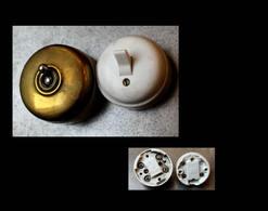 Lot Art Déco D'origine: 2  Interrupteurs  / Vintage Art Deco Electrical Ceramic Plugs - Luminaires