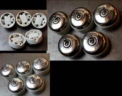 Lot Art Déco D'origine: 5 Interrupteurs Identiques Porcelaine Et Métal / Vintage Art Deco Electrical Ceramicswitches - Luminaires