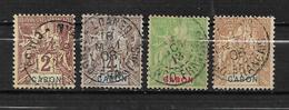 Colonies Timbres Du Gabon De 1904/07  N°17 A 19 + N°24 Oblitérés - Gabon (1886-1936)