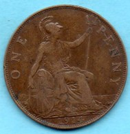 T10/  GRANDE BRETAGNE  1 PENNY 1914  GEORGES V - 1902-1971 : Post-Victorian Coins
