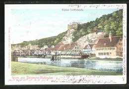 AK Dürrmenz-Mühlacker, Ortsansicht Mit Flussbrücke Und Ruine Löffelstelz - Mühlacker