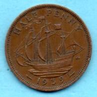 T10/  GRANDE BRETAGNE  1/2 PENNY 1939  GEORGES VI - 1902-1971 : Post-Victorian Coins