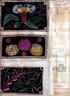 3 Petites Poches Pour Casaquin En Soie Peintes Et Brodées (Années 30)_L76 - Dentelles Et Tissus