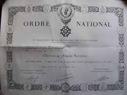 DIPLOME BREVET  OFFICIER ORDRE NATIONAL COTE D IVOIRE 1978 MEDAILLE DECORATION - Spain