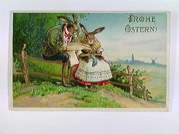 AK Ostern, Hasenpaar In Tracht, Golddekor, Bahnpost 1918 - Feiern & Feste