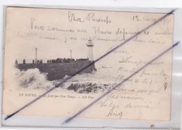 Le Havre (76) La Jetée Par Gros Temps / Le Phare (carte Précurseur De 1900) - Other