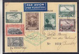 Belgique - Carte Postale De 1937 - Oblit Antwerpen - Expo Aéronautique - Avec Timbre Congo Belge - Oblit Stanleyville - Briefe U. Dokumente