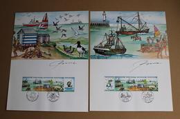 Prévente Spéciale LA MER - Feuillets De 4 Timbres X2 + 2 Vignettes - Signé Oscar Bonneval - Timbres N° 2273/76 - FDC