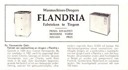 Pub Reclame Org. Knipsel Tijdschrift - Wasmachines Flandria - Fa. Vanmaercke Gebrs. Tiegem - 1961 - Reclame