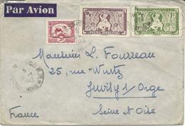 LETTRE PAR AVION 1949 AVEC 3 TIMBRES ET CACHET SAIGON COCHINCHINE - Indochina (1889-1945)