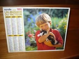 Calendrier Almanach Du Facteur 1992   ENFANTS AVEC CHAT ET CHEVRE REF C 07 I 39  L 71  EYRELLE - Tamaño Grande : 1991-00