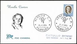 1974 - ITALIA - FDC + Y&T 1176 [Rosalba Carriera] + VENEZIA & VIAREGGIO - 1946-.. République