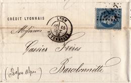 Lettre Lyon 1870 Rhône Crédit Lyonnais Barcelonette Basses Alpes Alpes De Haute Provence Napoléon III 20c Gassier Frères - 1863-1870 Napoleon III Gelauwerd