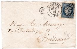 Lettre 1871 Libourne Gironde Bordeaux Cérès 25c - 1871-1875 Cérès