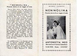 Santino Antico Depliant NENNOLINA, ANTONIETTA MEO Beniamina Di Azione Cattolica - OTTIMO P73 - Religione & Esoterismo