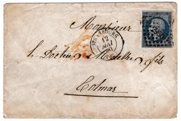Lettre 1860 Strasbourg Bas Rhin Alsace Colmar Napoléon III 20 Centimes - 1853-1860 Napoléon III